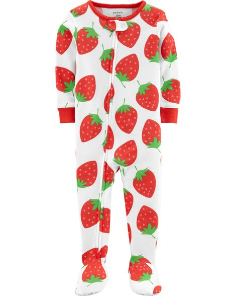 Display product reviews for 1-Piece Strawberry Snug Fit Cotton Footie PJs
