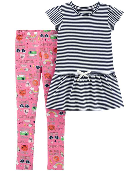Display product reviews for 2-Piece Striped Flutter-Sleeve Top & Graphic Legging Set