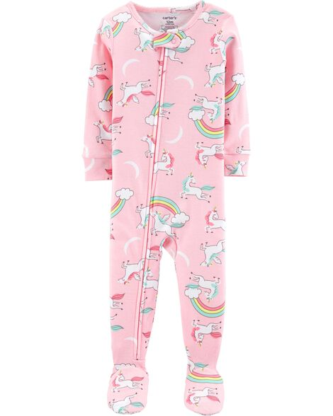Display product reviews for 1-Piece Unicorns Footed Snug Fit Cotton PJs