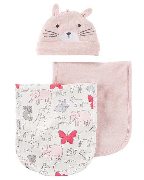 Display product reviews for 3-Piece Heathered Burp Cloth & Hat Set