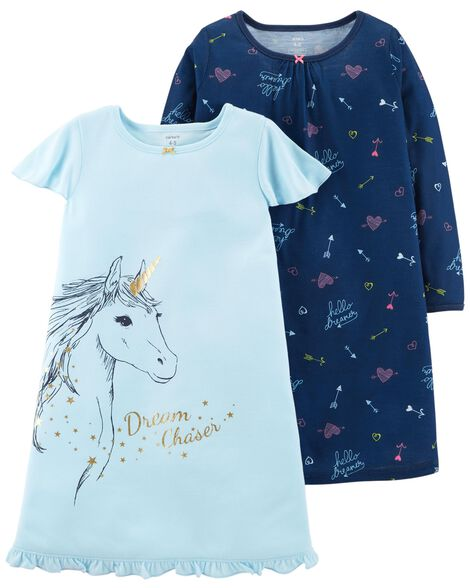 Display product reviews for 2-Pack Unicorn Sleep Gowns