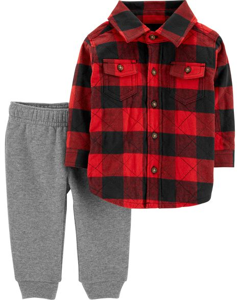 Display product reviews for 2-Piece Buffalo Check Button-Front & Fleece-Lined Jogger Set