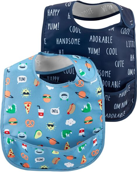 Display product reviews for 2-Pack Slogan & Emoticon Feeding Bibs