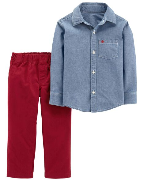 Display product reviews for 2-Piece Chambray Button-Front & Canvas Pant Set