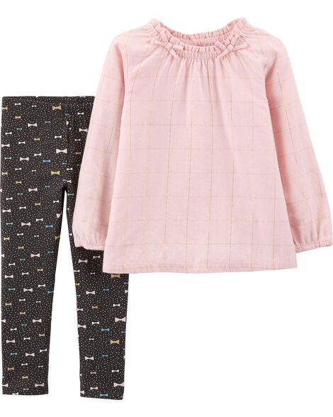 Display product reviews for 2-Piece Flannel Top & Bow Legging Set