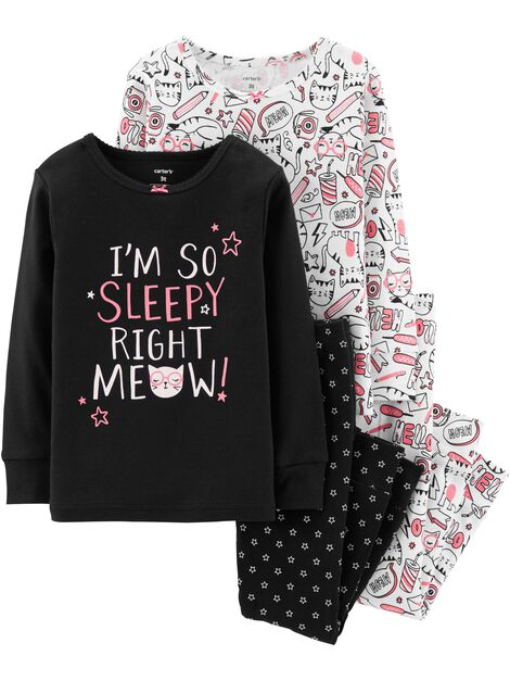 Display product reviews for 4-Piece Glow-In-The-Dark Kitty Snug Fit Cotton PJs