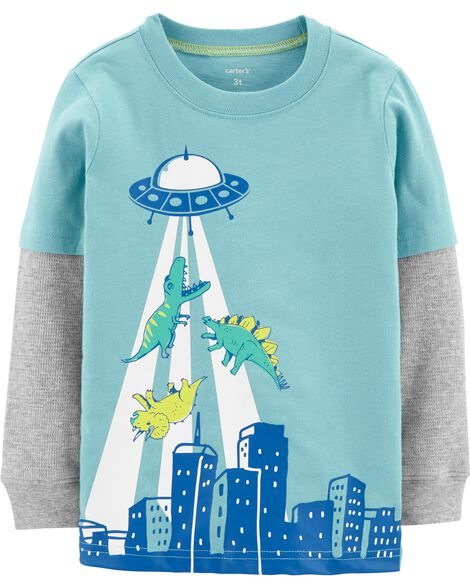 Display product reviews for UFO Dinosaur Layered-Look Tee