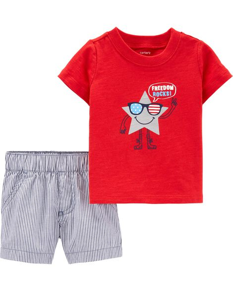 1fb79efae Display product reviews for 2-Piece 4th Of July Tee & Striped Short Set