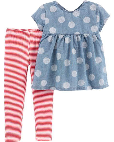 d2985599b Display product reviews for 2-Piece Polka Dot Chambray Top & Striped  Legging Set