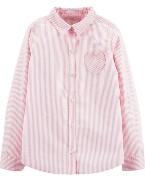 Display product reviews for Striped Heart Button-Front Shirt