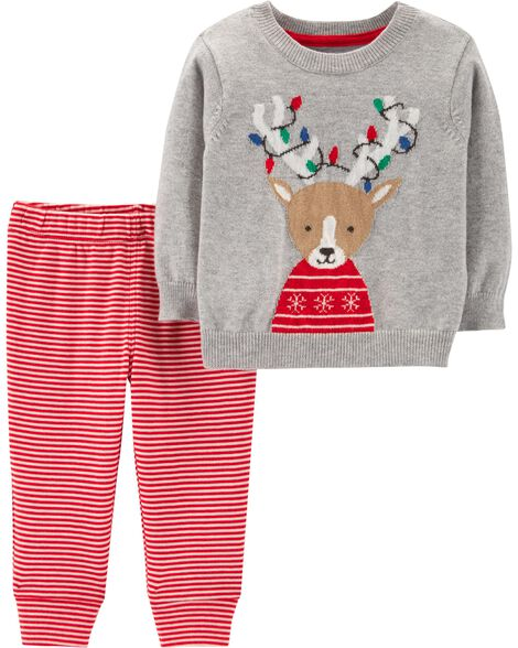 Display product reviews for 2-Piece Reindeer Sweater & Striped Pant Set