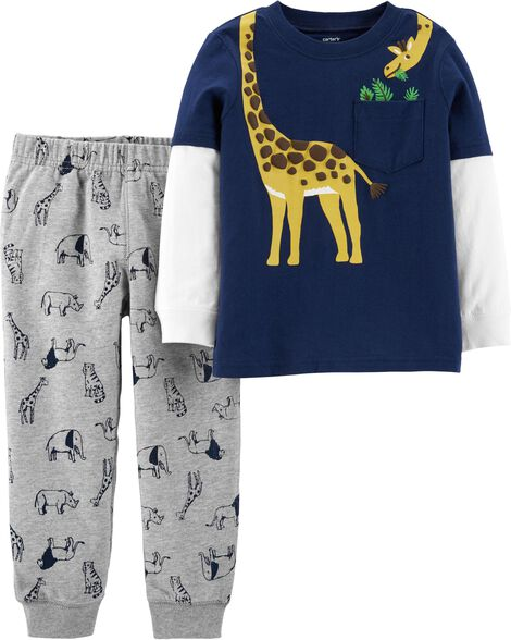 Display product reviews for 2-Piece Giraffe Layered-Look Tee & Animal Jogger Set