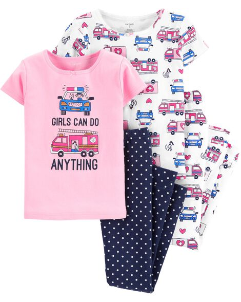 Display product reviews for 4-Piece Girls Can Do Anything Snug Fit Cotton PJs