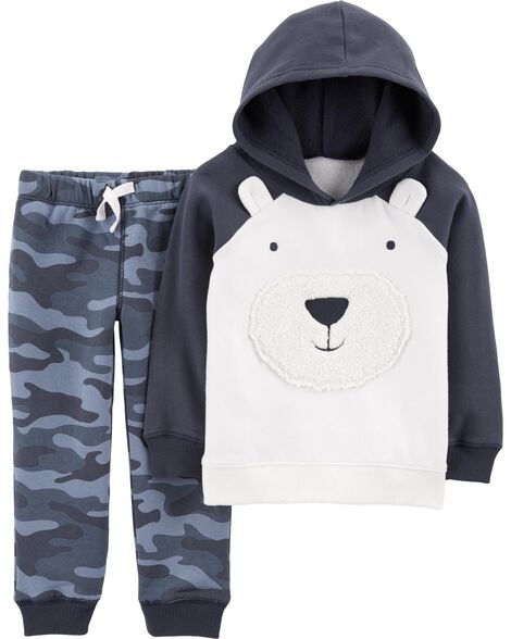 Display product reviews for 2-Piece Bear Fleece Hoodie & Camo Jogger Set