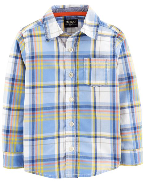 Display product reviews for Button-Front Plaid Shirt