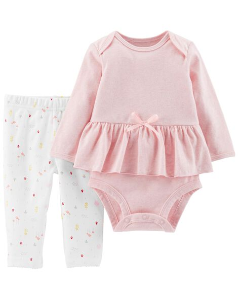 Display product reviews for Certified Organic 2-Piece Peplum Bodysuit Pant Set