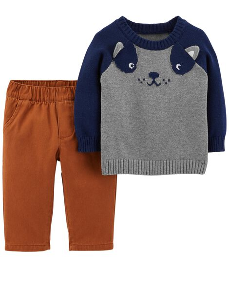 Display product reviews for 2-Piece Dog Sweater & Twill Pant Set