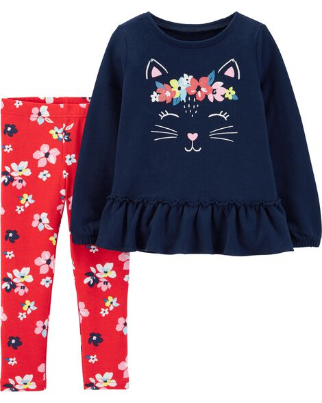 Display product reviews for 2-Piece Kitty French Terry Top & Floral Legging Set