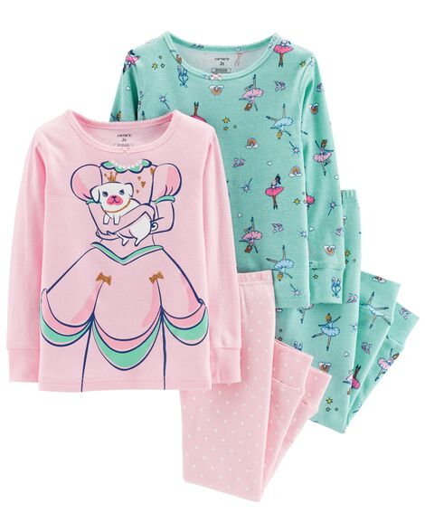Display product reviews for 4-Piece Glitter Princess Cut-Out Snug Fit Cotton PJs