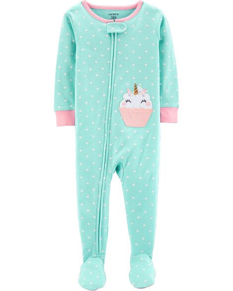 Display product reviews for 1-Piece Cupcake Footed Snug Fit Cotton PJs