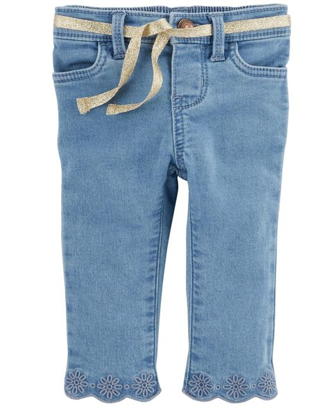 Display product reviews for Scalloped Knit Denim Pants