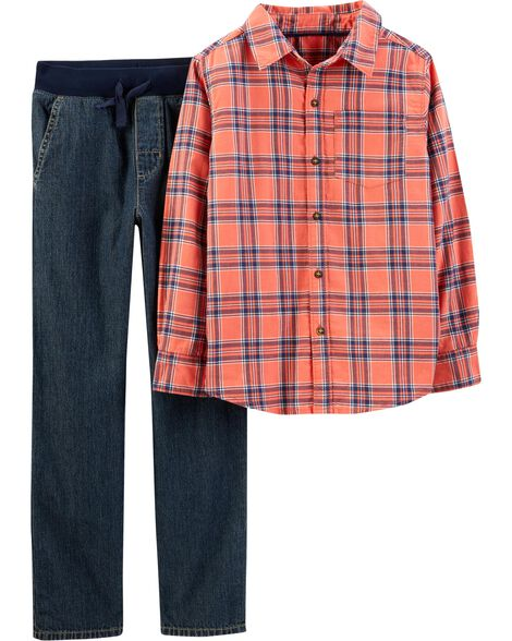 Display product reviews for 2-Piece Plaid Flannel & Pull-On Jeans Set
