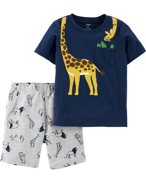 Display product reviews for 2-Piece Giraffe Tee & Animal Short Set