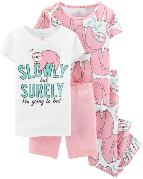 Display product reviews for 4-Piece Glitter Sloth Snug Fit Cotton PJs