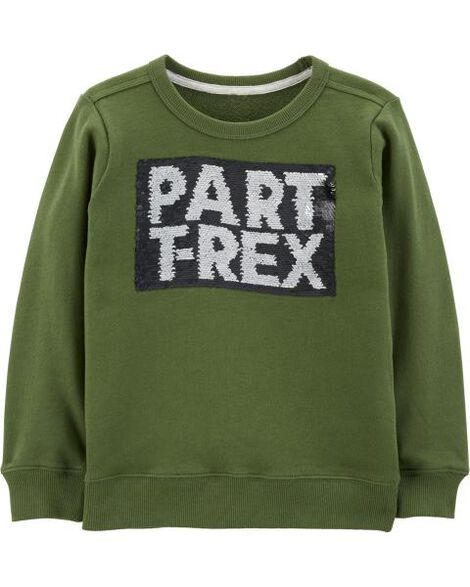 Display product reviews for T-Rex Flip Sequin French Terry Pullover