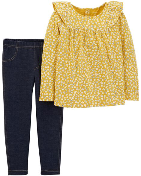 Display product reviews for 2-Piece Floral Ruffle Top & Jegging Set