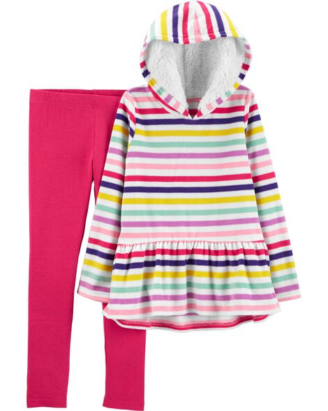 Display product reviews for 2-Piece Striped Fleece Hoodie & Legging Set