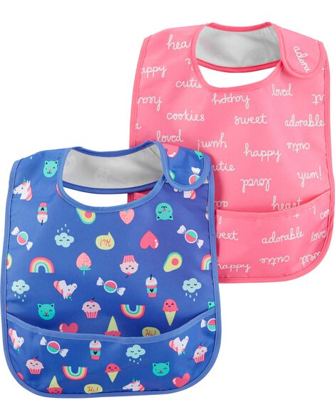 Display product reviews for 2-Pack Slogans & Emoticon Feeding Bibs