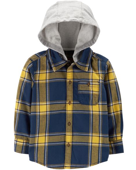 Display product reviews for Plaid Flannel Hooded Button-Front Shirt