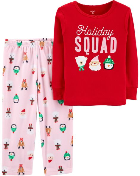 Display product reviews for 2-Piece Toddler Christmas Cotton & Fleece PJs