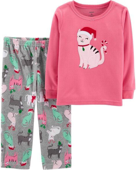 Display product reviews for 2-Piece Christmas Cat Fleece PJs