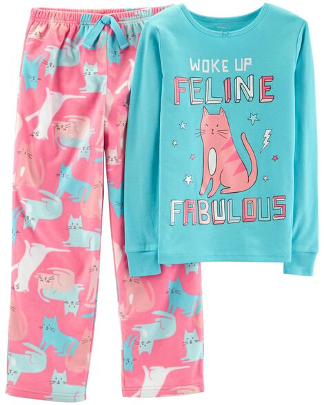 Display product reviews for 2-Piece Cat Cotton & Fleece PJs