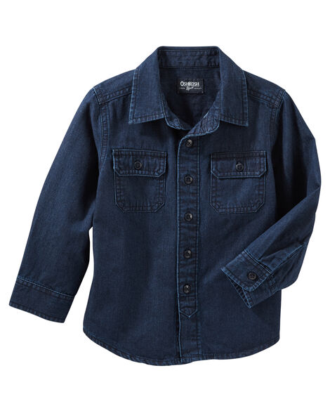Display product reviews for 2-Pocket Button-Front Denim Shirt