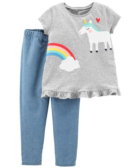 Display product reviews for 2-Piece Unicorn Top & Chambray Pant Set