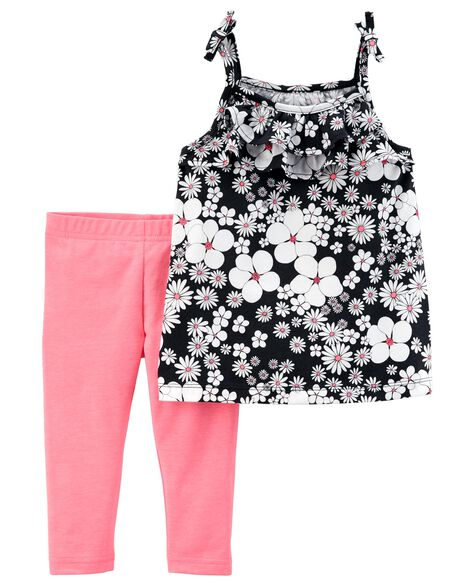 Display product reviews for 2-Piece Floral Tie Shoulder Top & Capri Legging Set