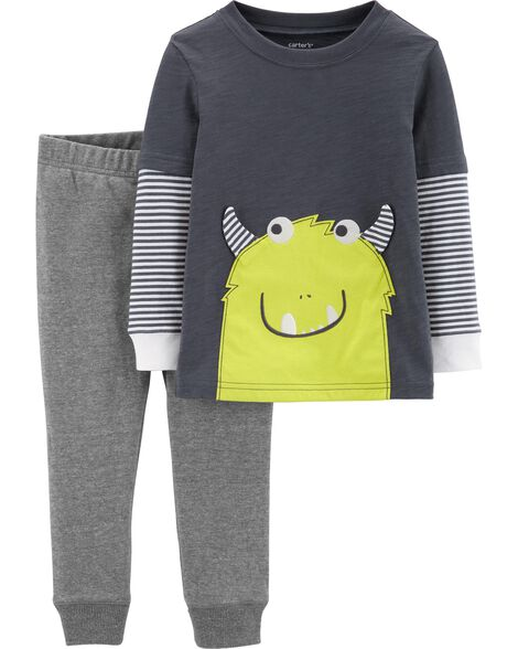 Display product reviews for 2-Piece Monster Layered-Look Tee & French Terry Pant Set