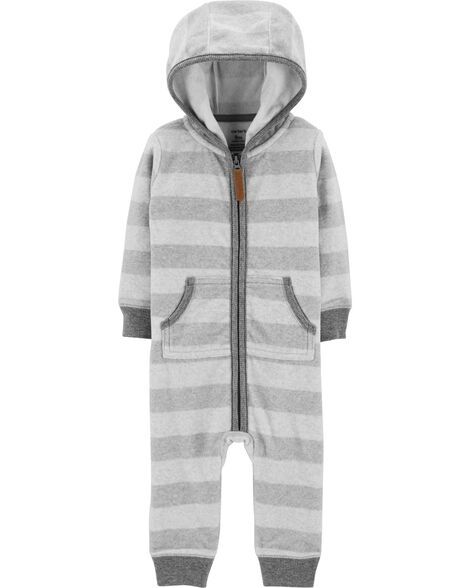 Display product reviews for Striped Hooded Fleece Jumpsuit