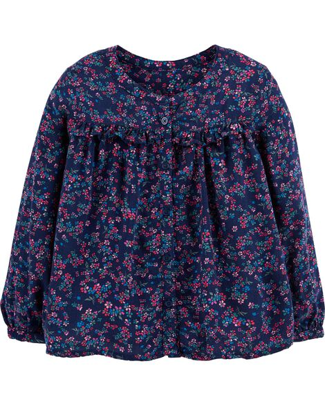 Display product reviews for Floral Ruffle-Front Top