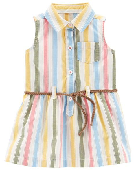 Display product reviews for Striped Belted Shirt Dress