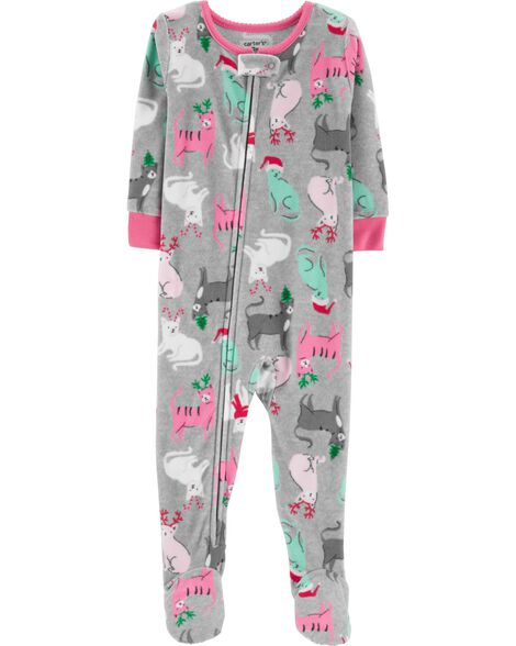 display product reviews for 1 piece christmas cat fleece pjs