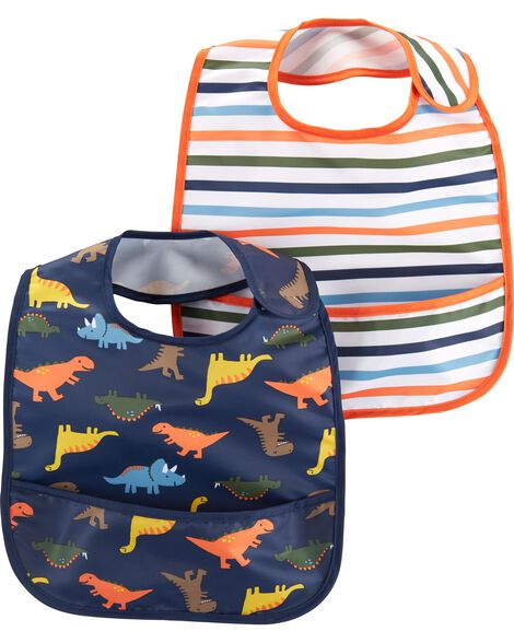 dd7e818be Display product reviews for 2-Pack Stripes & Dinosaur Water Resistant Bibs