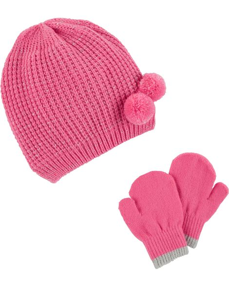 Display product reviews for Sparkle Pom Pom Hat & Mitten Set