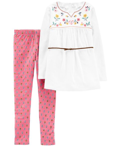 Display product reviews for 2-Piece Embroidered Tunic & Floral Legging Set