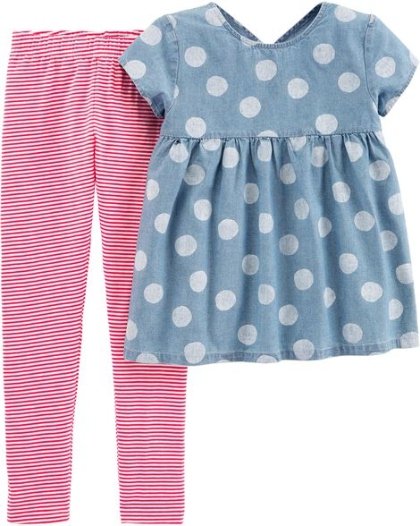 Display product reviews for 2-Piece Polka Dot Chambray Top & Striped Legging Set