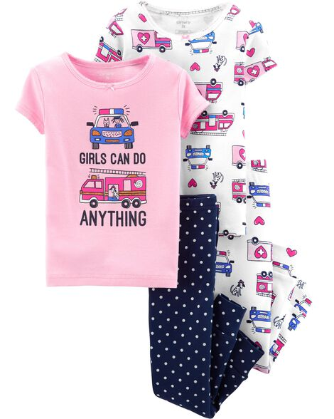 5eb114afe 4-Piece Girls Can Do Anything Snug Fit Cotton PJs