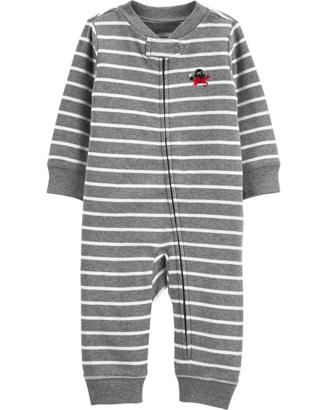 69fc30486 Display product reviews for Striped Zip-Up Cotton Footless Sleep & Play